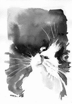 Aquarelle Sur Carte Postale Originale Chat Blanc Et Noir Elegant
