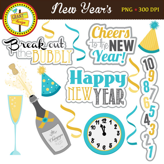 new years clipart new year clip art cute digital clipart personal use commercial use card