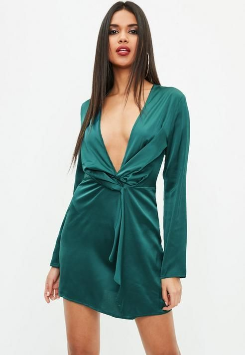256d0f25b5e5 Missguided Green Silky Plunge Wrap Shift Dress