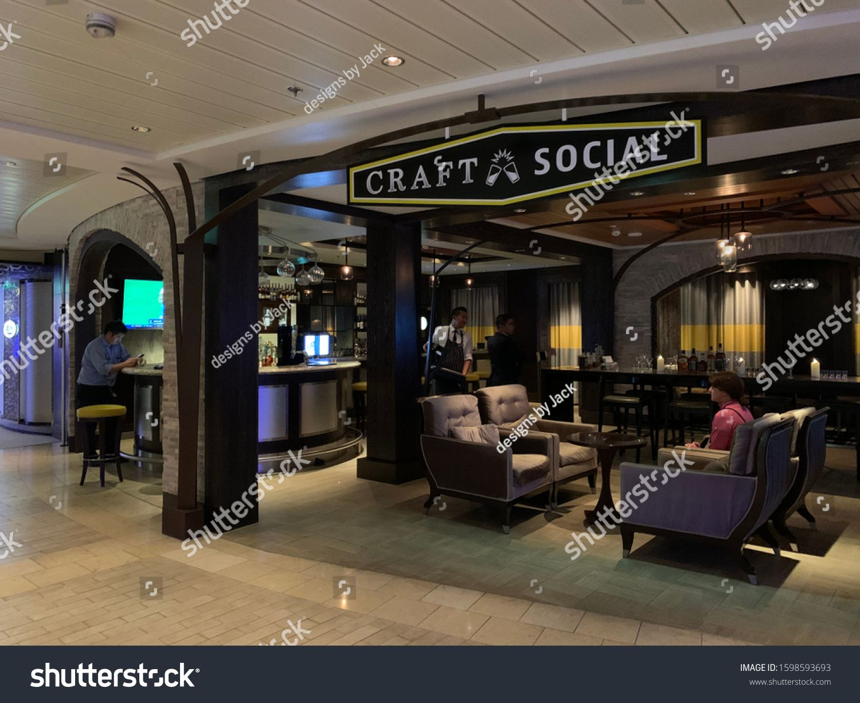 North Atlantic Ocean December 23 2019 Craft Social Bar On The Celebrity Equinox Cruise Ship Sponsored Paid December Atlantic Ocean Ocean Stock Photos