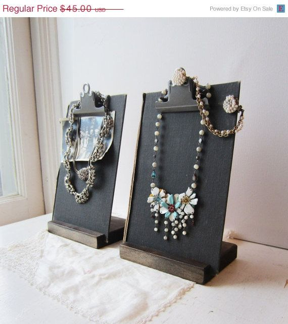 Two Black Clipboard Book Jewelry Displays Necklace Earring
