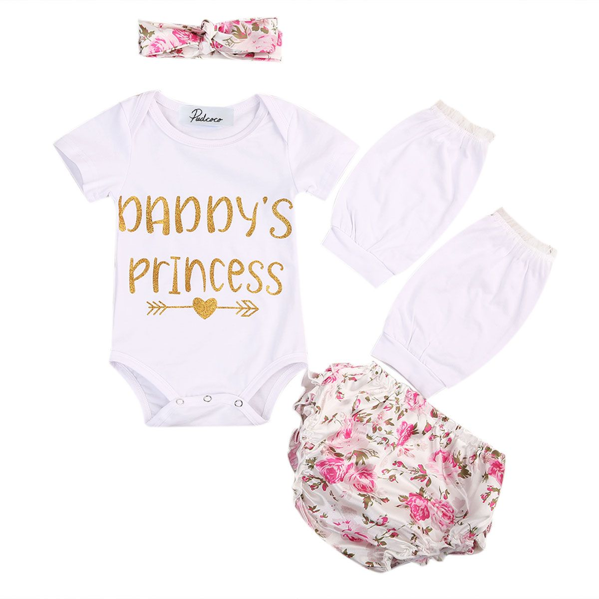 4PCS Newborn Baby Girl Romper Floral Shorts Dress+Leg Warmer+Headband Outfit Set