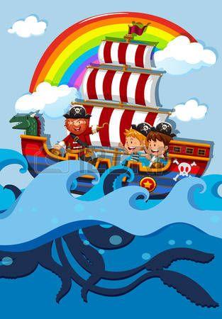 Pirata Caricatura Niños En El Barco Pirata Con La Ilustración