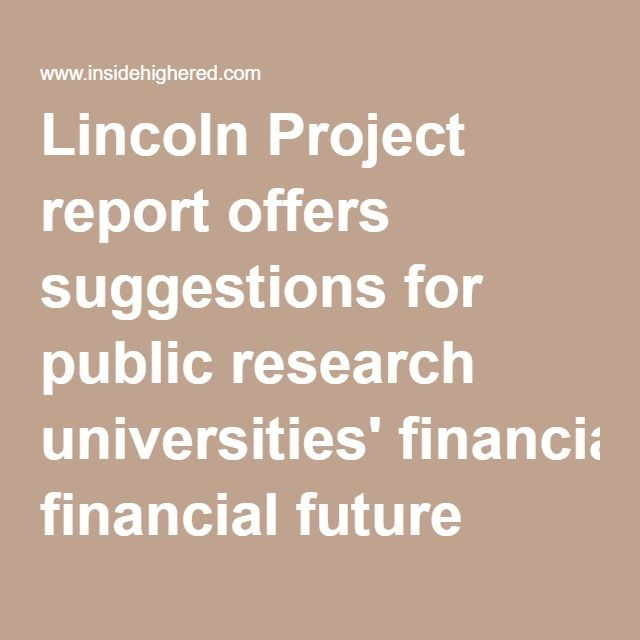Lincoln Project report offers suggestions for public research - project report