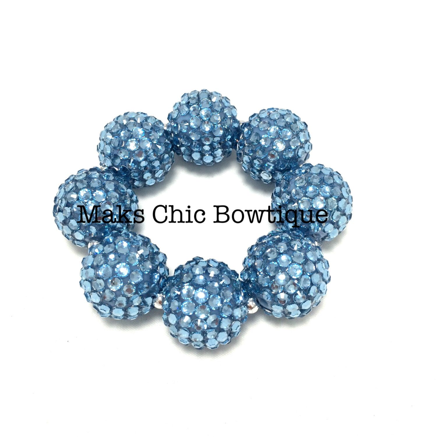 Toddler girls teen ladies all bling blue sparkle chunky bracelet