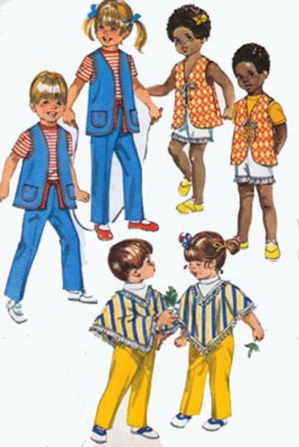Vintage 1970s Unisex Jiffy Vest, Poncho and Pants Sewing pattern ...