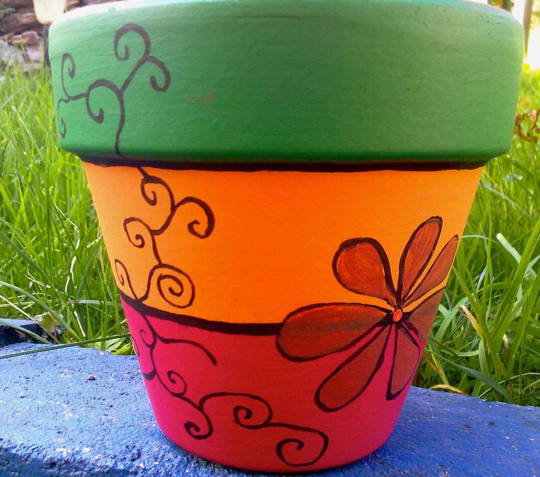 painted flower pot handmade pots jars others pinterest. Black Bedroom Furniture Sets. Home Design Ideas