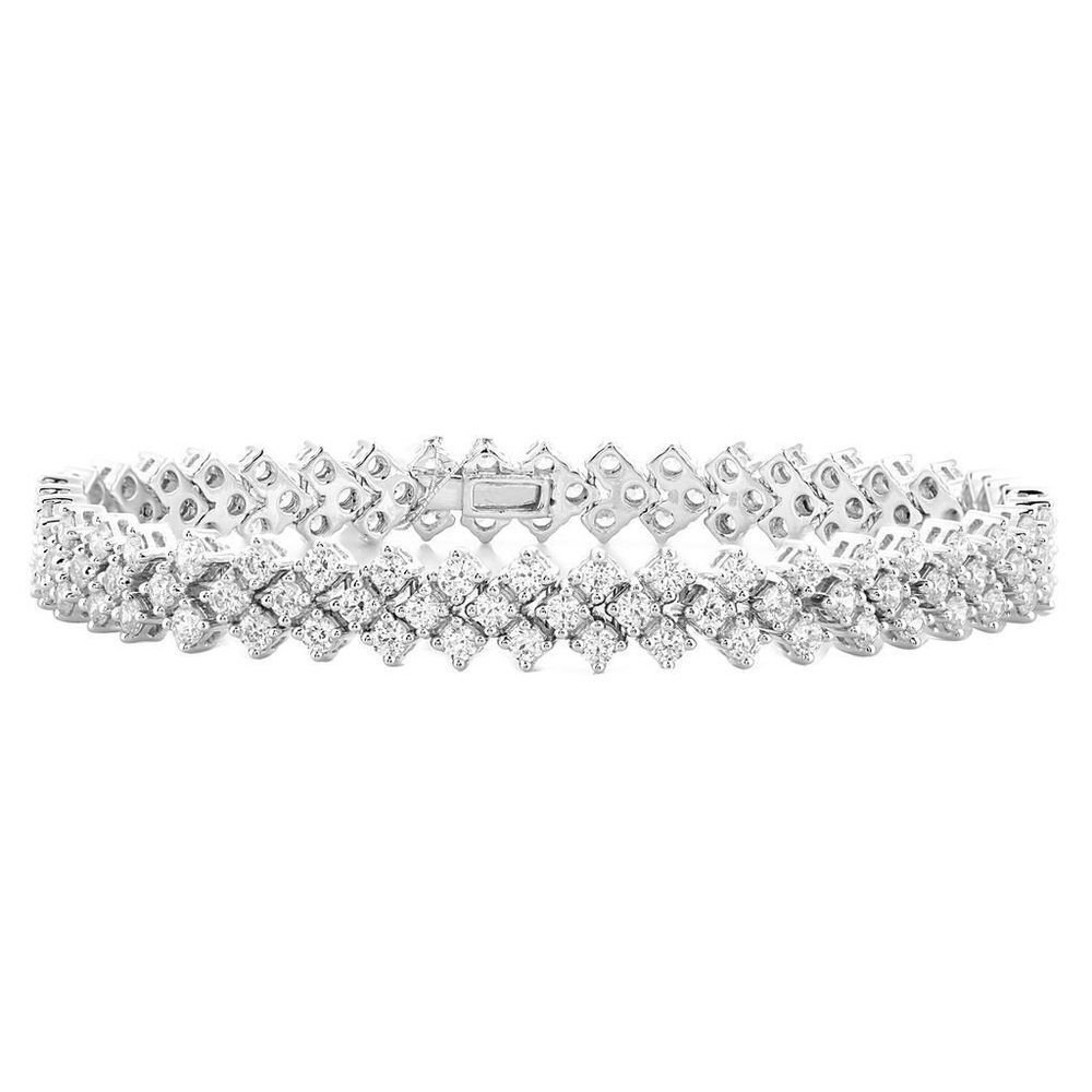 Womenus k white gold ct natural diamond link tennis bracelet