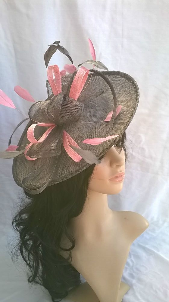 681d20a860a NEW GREY   PINK SINAMAY   FEATHER FASCINATOR HAT.Shaped saucer disc ...