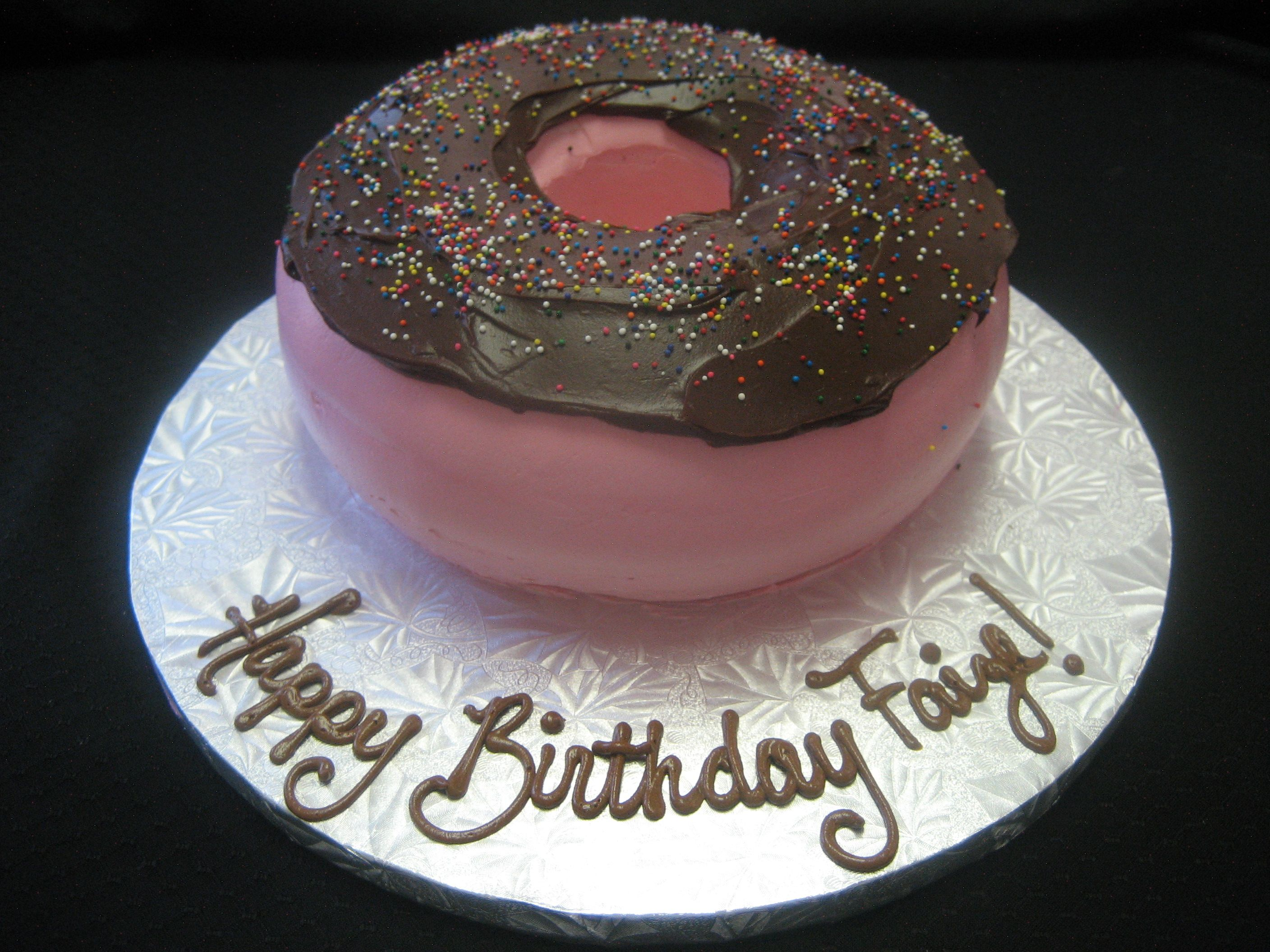 Birthday Cake Shaped Like A Donut