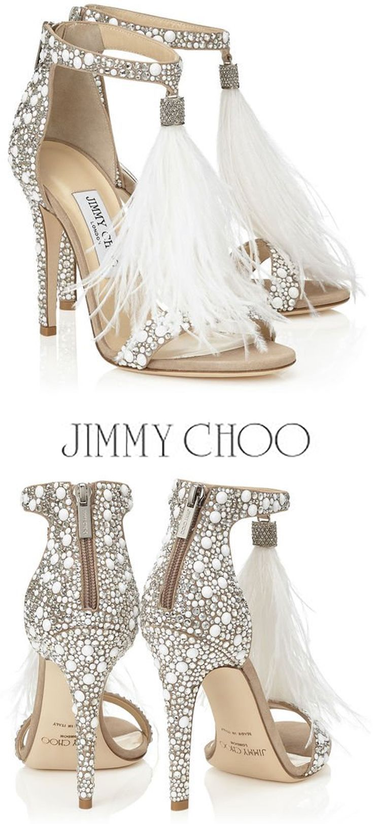 a8708cccb8 JIMMY CHOO VIOLA 110 White Suede and Hot Fix Crystal Embellished Sandals  with an Ostrich Feather Tassel #shoes #heels #ad #sandals #jimmychoo #tassel