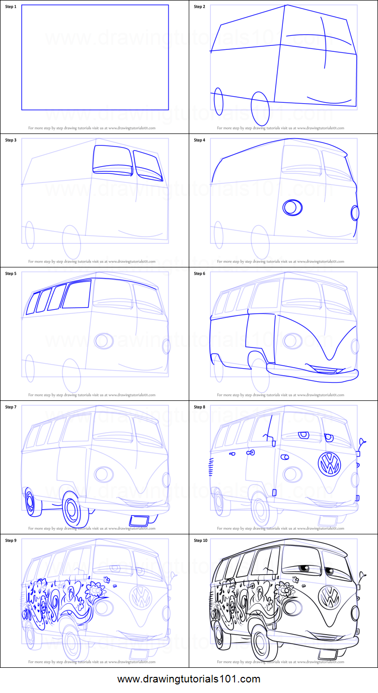 How to Draw Fillmore from Cars 3 Printable Drawing Sheet by DrawingTutorials101.com