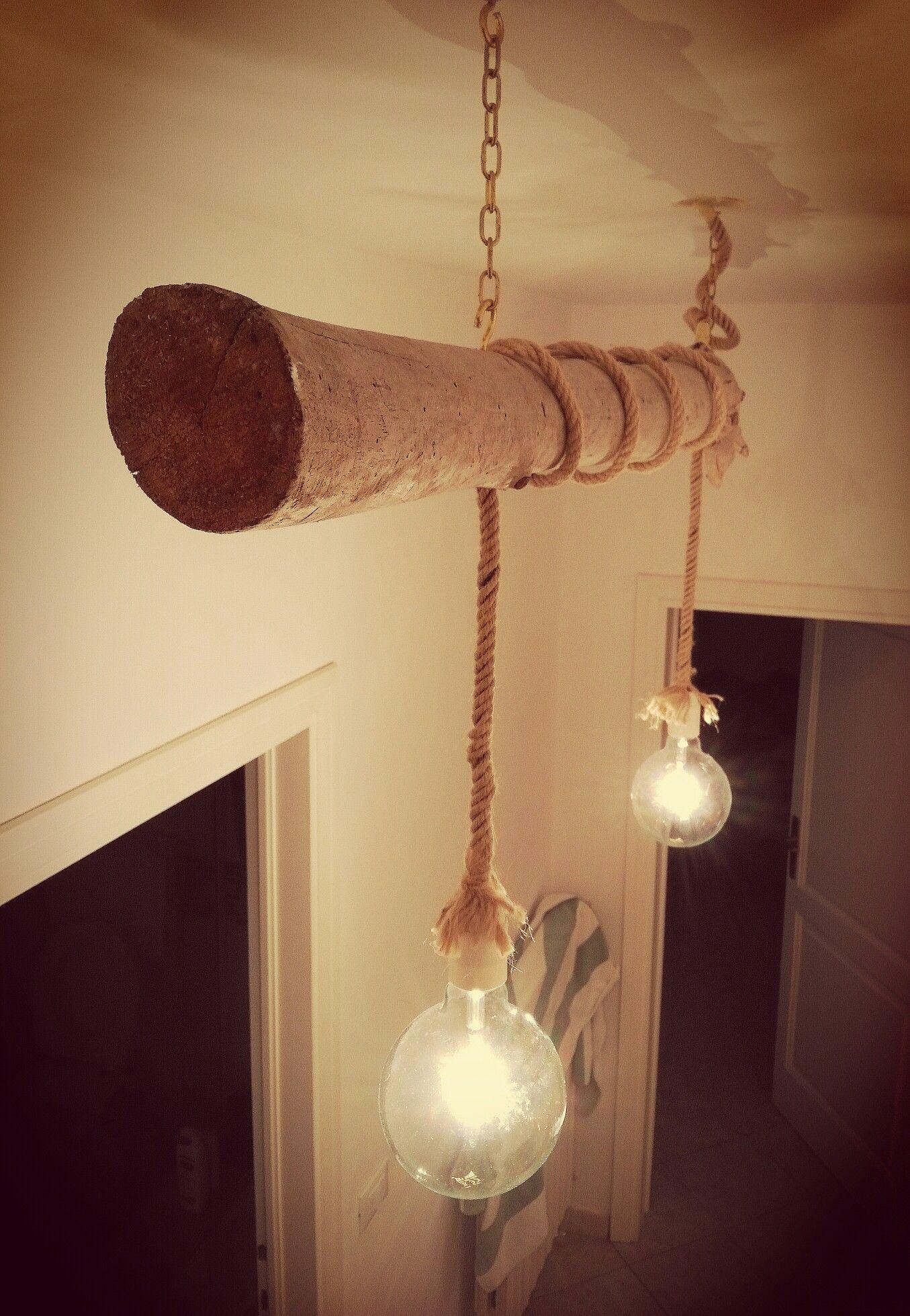 Lampadario legno di recupero mare e corda di canapa for Lampade con legno