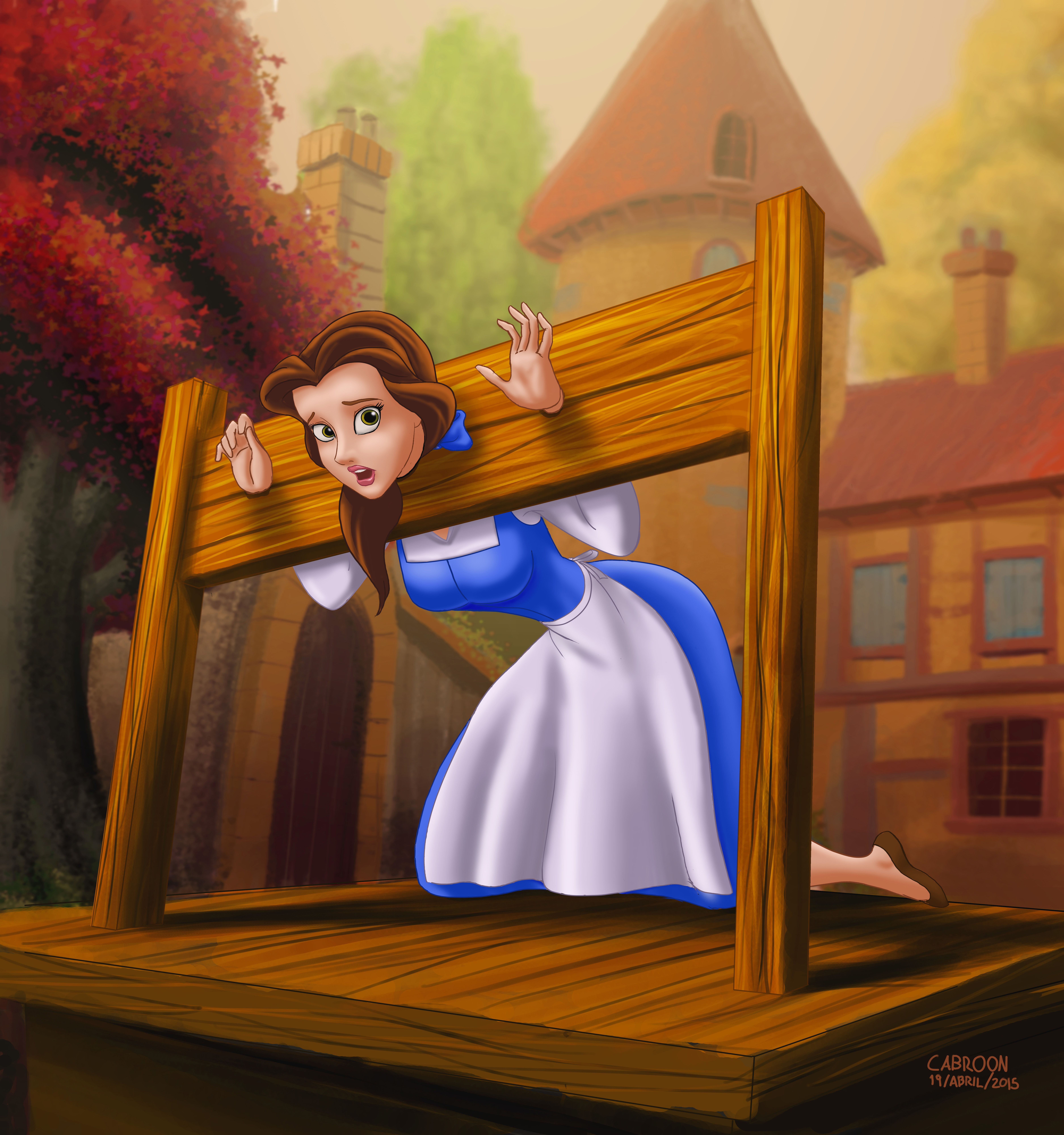Belle [as A Damsel In Distress] (Drawing By Cabroon
