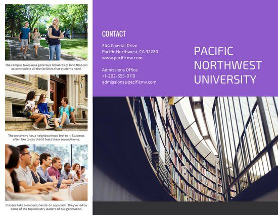 Pacific Northwest University Brochure  Design Layouts