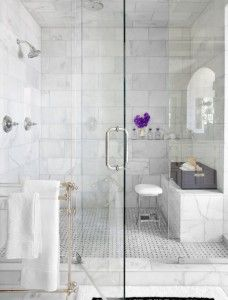 Like the large tiles  marble shower bathroom traditional