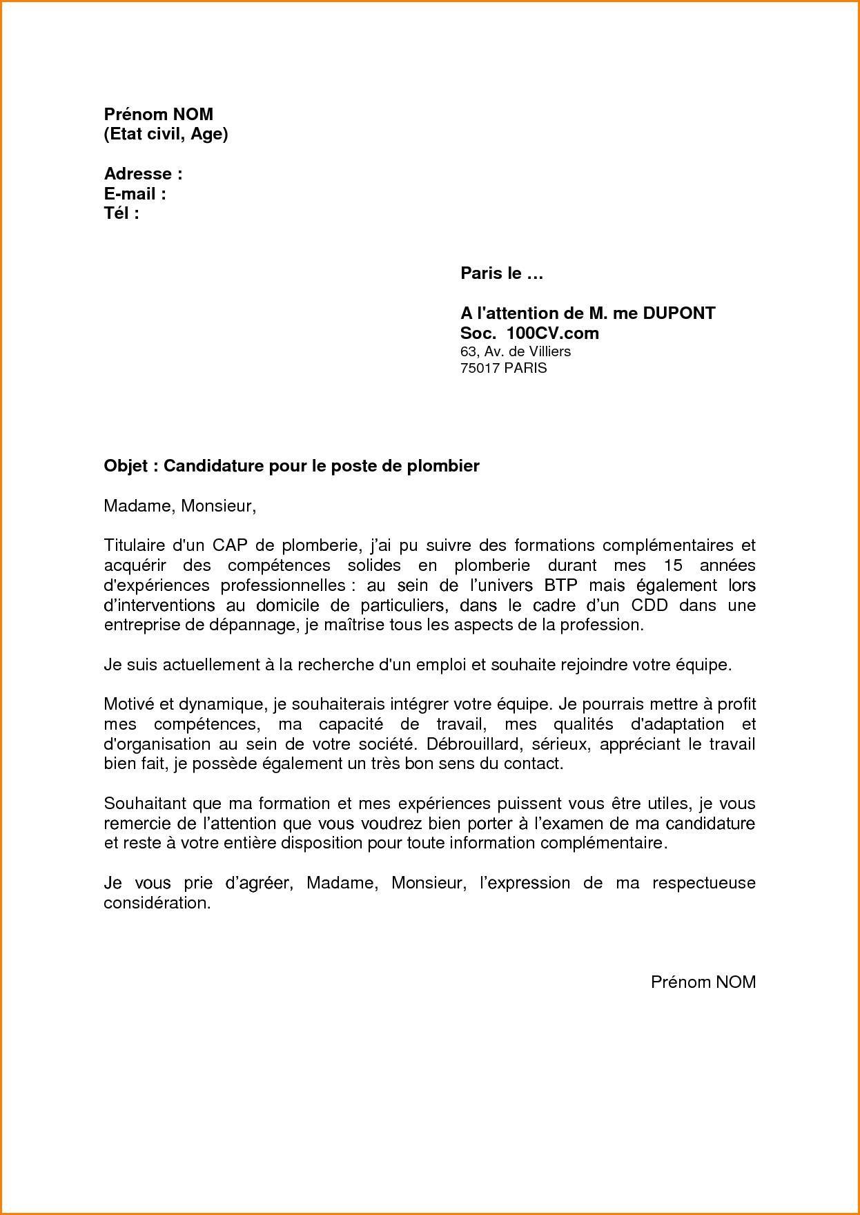 8 Exemple Lettre De Motivation Plombier Chauffagiste Professional Cv Format Cv Format Resume Template