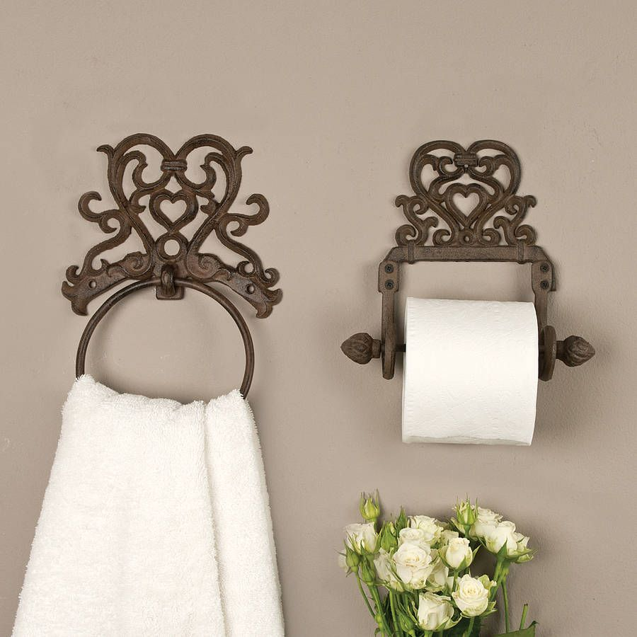 Period Heart Iron Roll Holder And Towel Ring | Towel rings, Towels ...