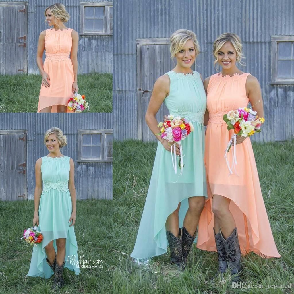 2016 Cheap Country Bridesmaid Dresses for Weddings High Low Mint ...