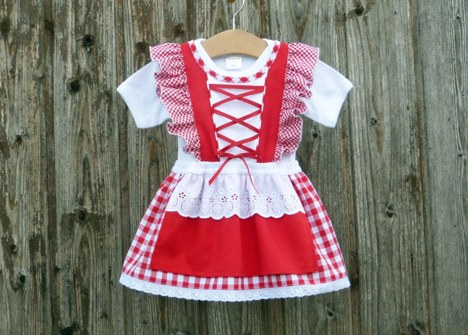 Baby\'s first dirndl, baby dirndl, red checkered christening robe ...