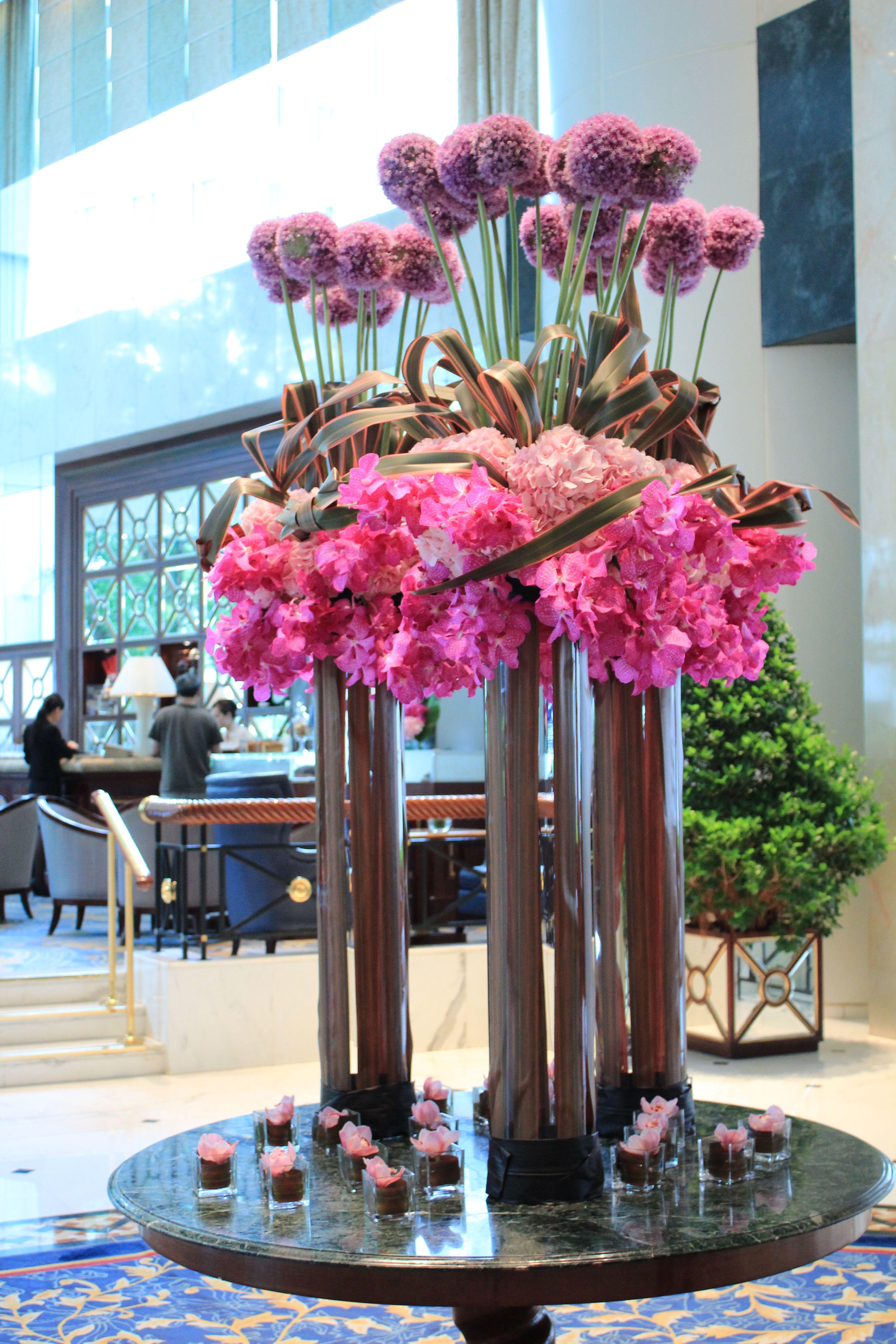 Harmonious Flower Arrangement Brightening Up Our Lobby Large Flower Arrangements Modern Flower Arrangements Hotel Flower Arrangements