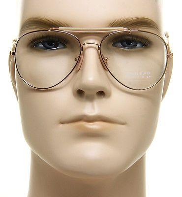 c28abf98ba08 Retro Aviator Clear Lens Glasses Super Vintage Classic Fashion Gold Metal  Frame