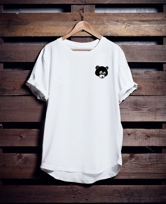 College Dropout Bear Kanye West T Shirt Yeezus Tour By Ocnurshop T Shirt Picture White Tshirt Outfit Blank T Shirts