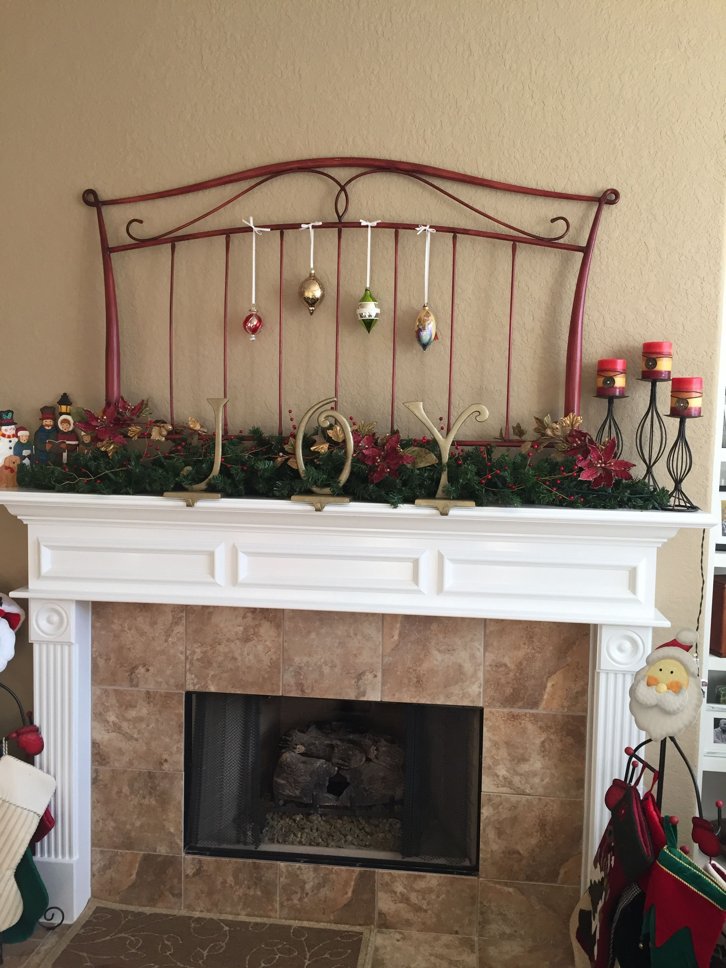 Mantel decorations with iron headboard Ideas for the House