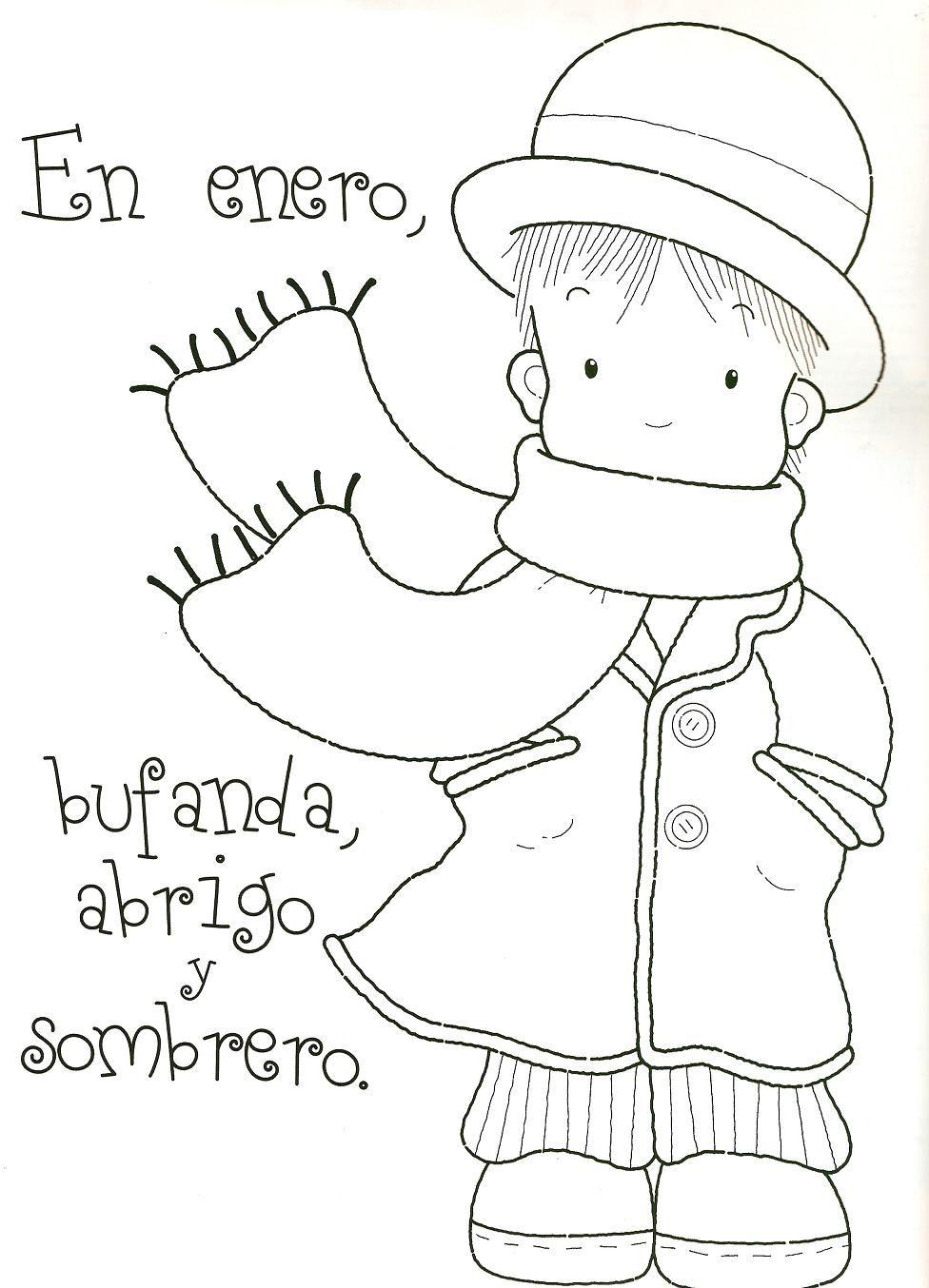 Dibujos Para Colorear De Los Meses Del Ano Rimas Infantiles Invierno Preescolar Espanol Preescolar