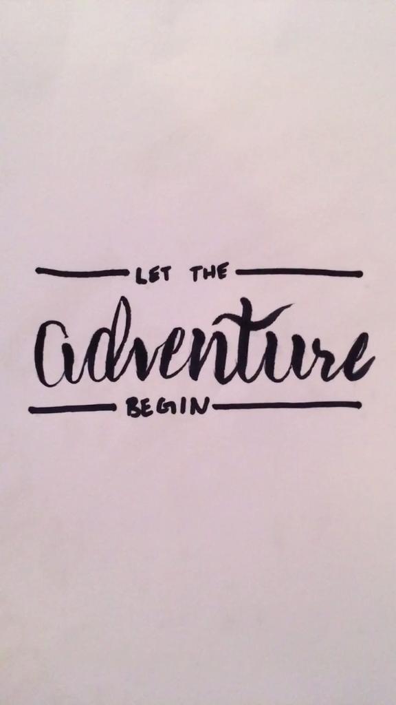Lassen Sie das Abenteuer Handschrift beginnen