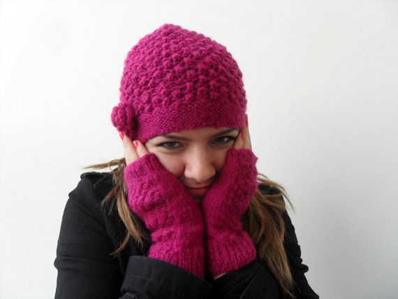 e0aec9a8c44 Winter Fashion Hand Knitted Hat and Fingerless Gloves Raspberry Cherry  Slouchy Ribbed Chunky