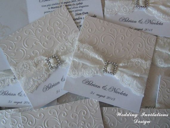 Ivory and White / Ivory lace Invitation for por WeddingInvitationsV