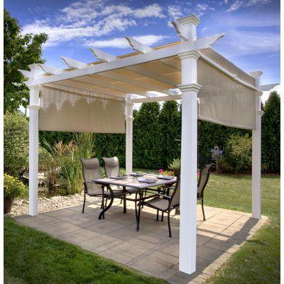 New England Arbors 10 X 10 Malibu Pergola With Canopy Outdoor Pergola Aluminum Pergola Pergola Patio