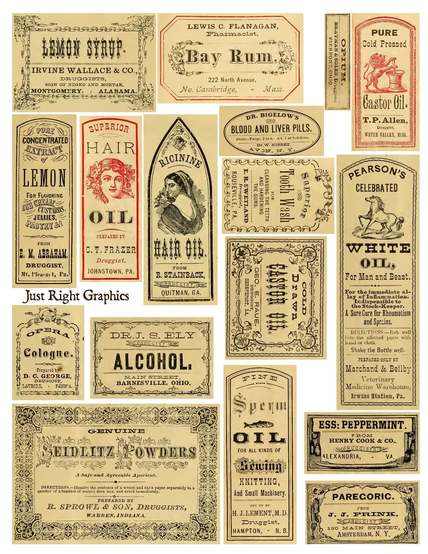 Apothecary Labels Apothecary Labels Collage Sheet Vintage Labels