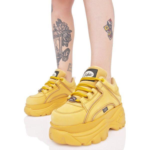 Buffalo Nubuck Beige Platform Sneakers (635 SAR) ❤ liked on