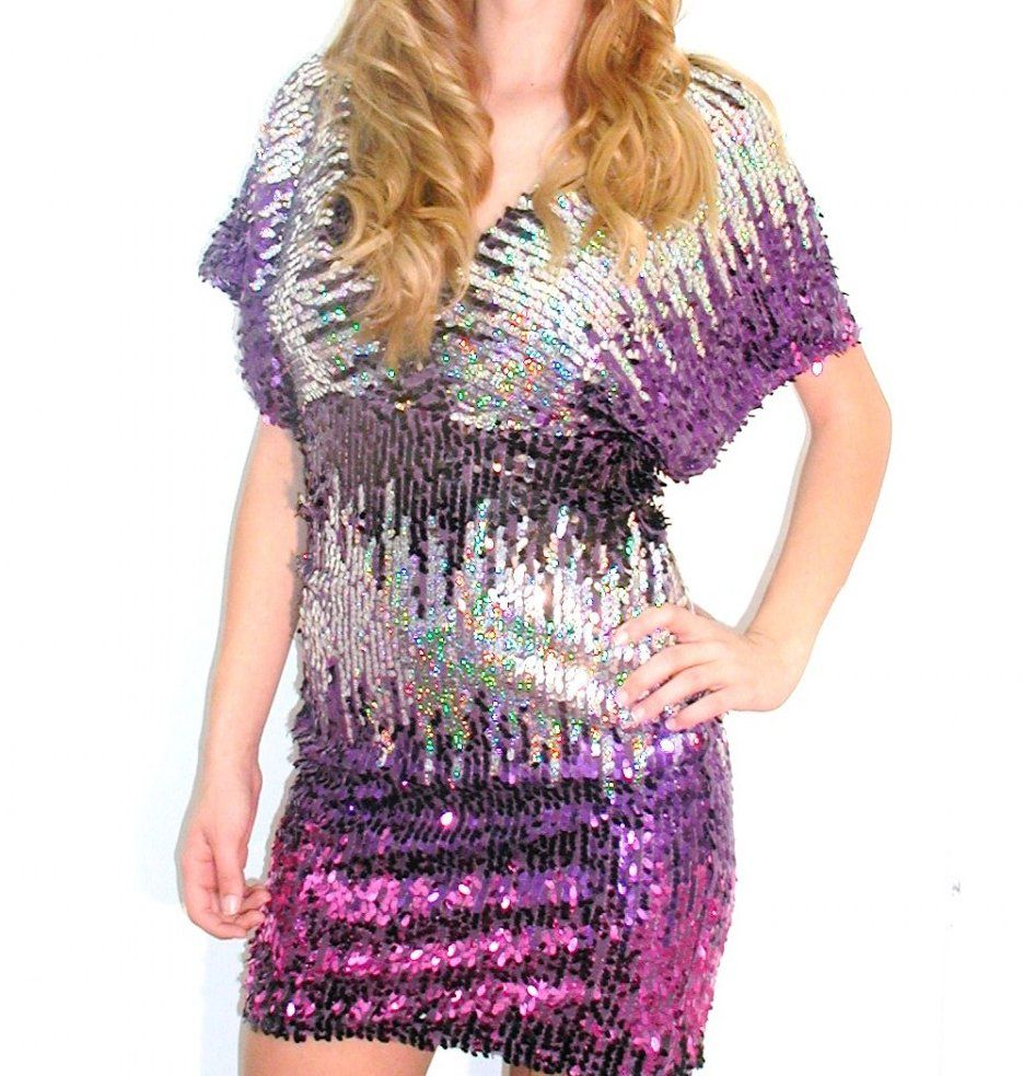 shop kami shade' - plus size perfectly purple silver multi sequin