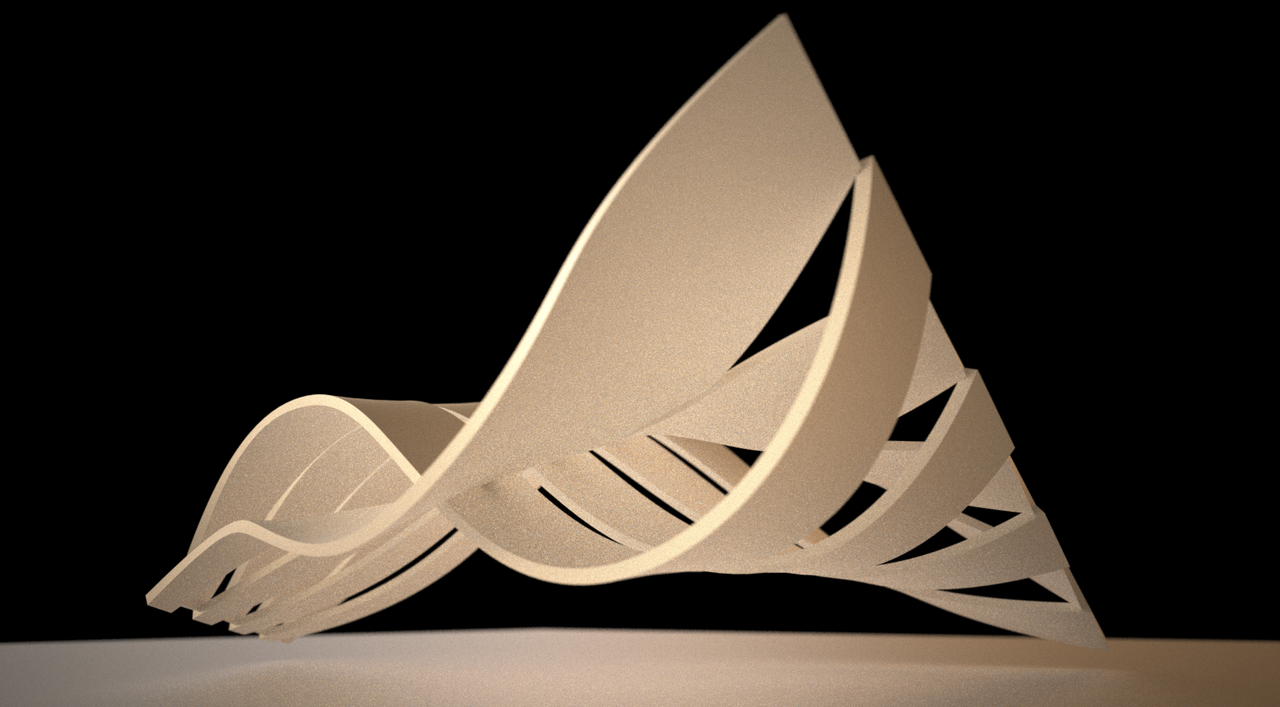 Subsurface exercise alternating strips with sine curve for Architectural concept models