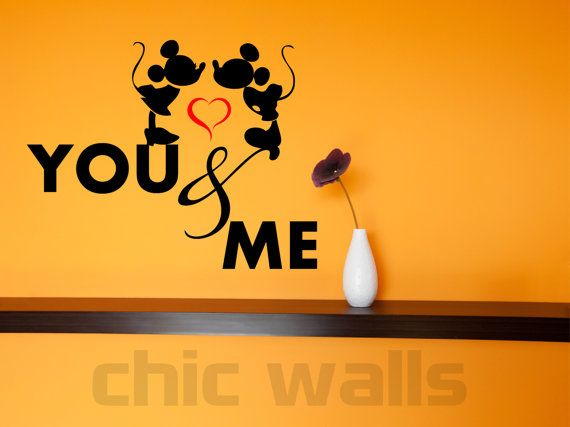 Minnie & Mickey Mouse In Love Heart You and Me Removable Wall Decor ...