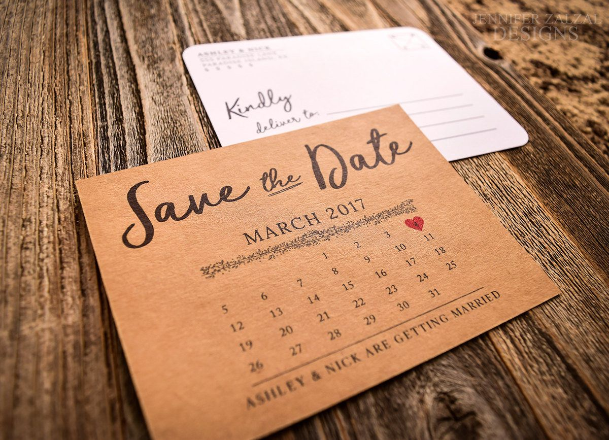 Double Sided Rustic Calendar Save The Date Postcard White Or Kraft