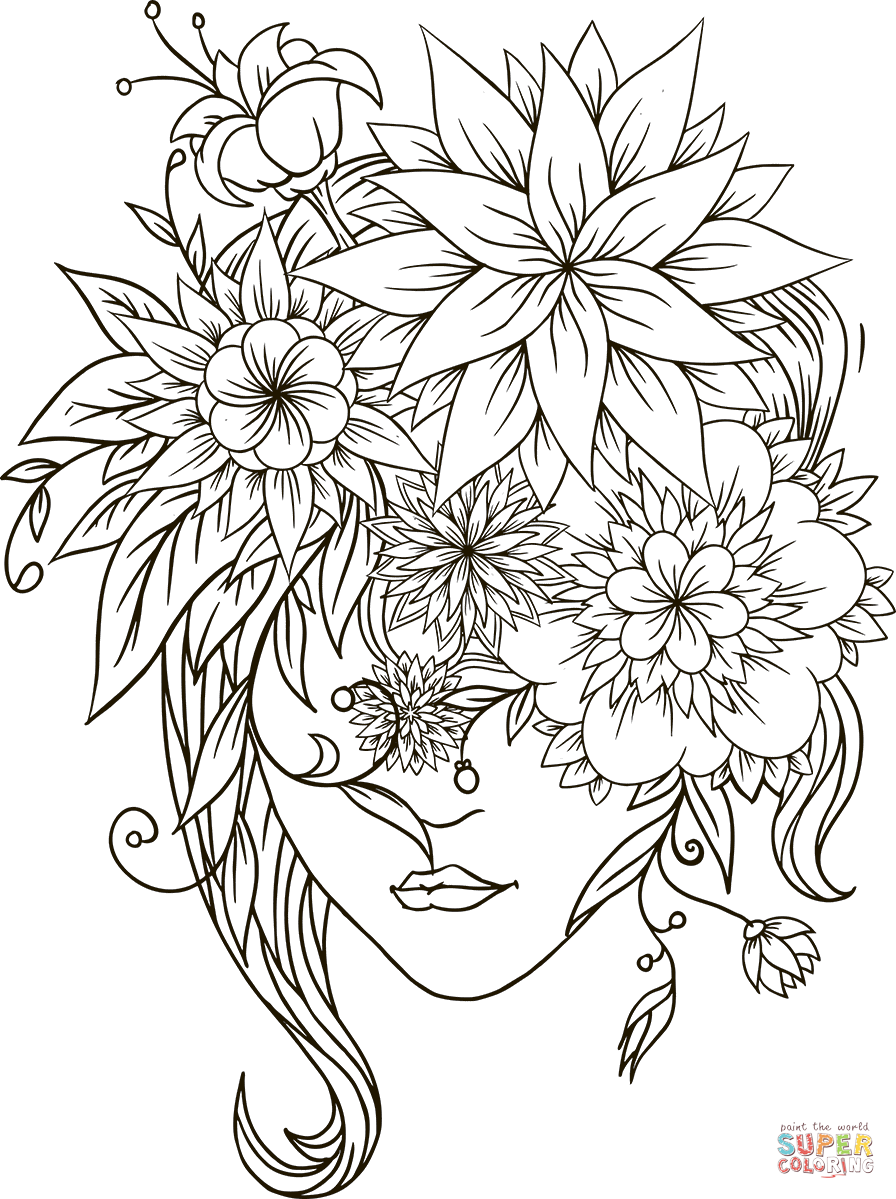 Flower Head Girl Coloring Page Free Printable Coloring Pages Coloring Pages For Girls Coloring Pages Sunflower Coloring Pages