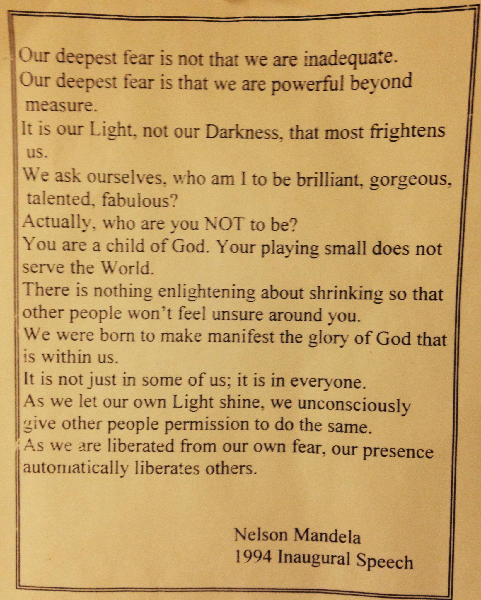 Nelson Mandela; Inaugural Speech (1994) So powerful; God did not ...