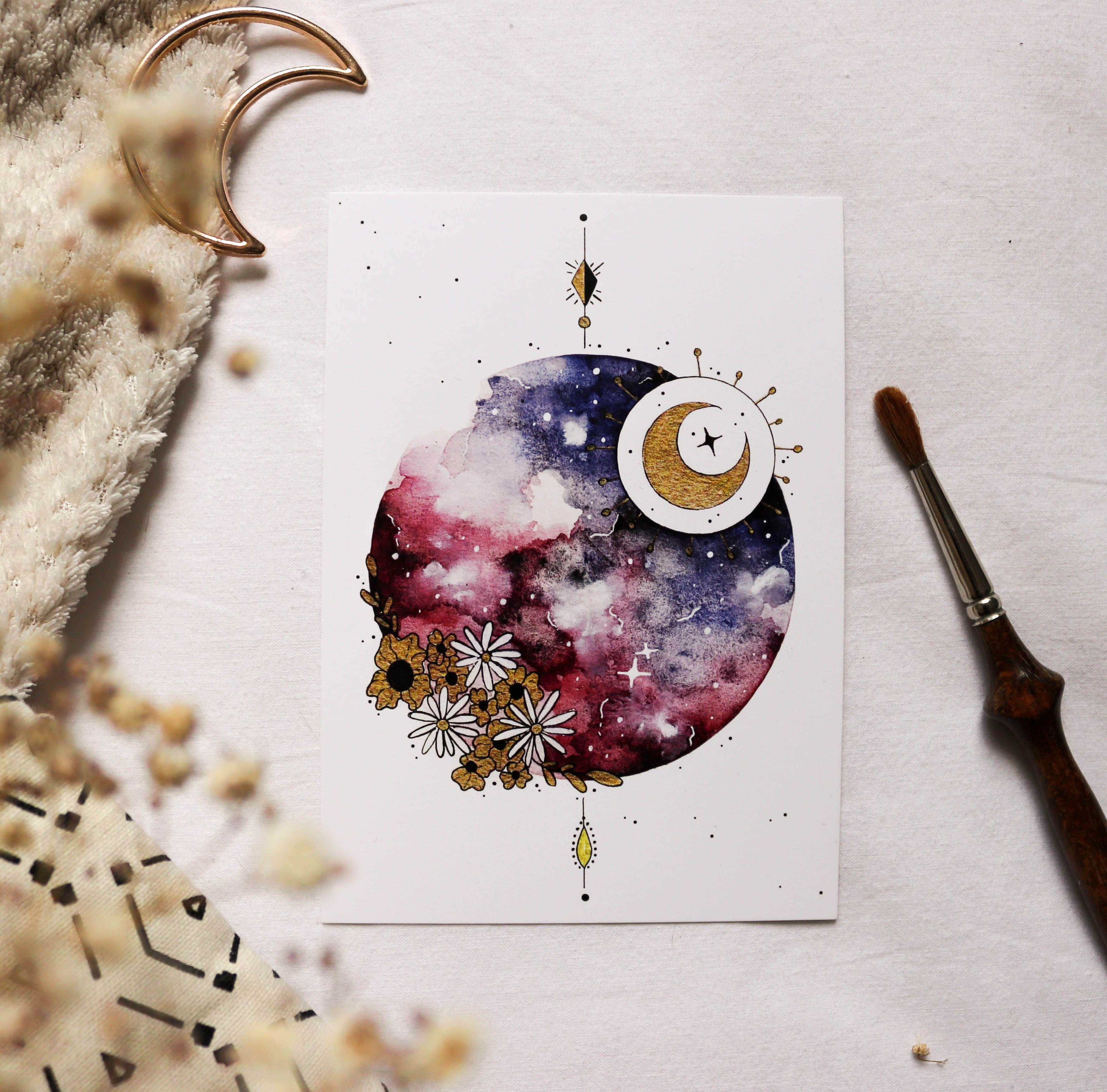 Lot De 3 Cartes Lunaires Peinture A L Aquarelle Aquarelle Dessin
