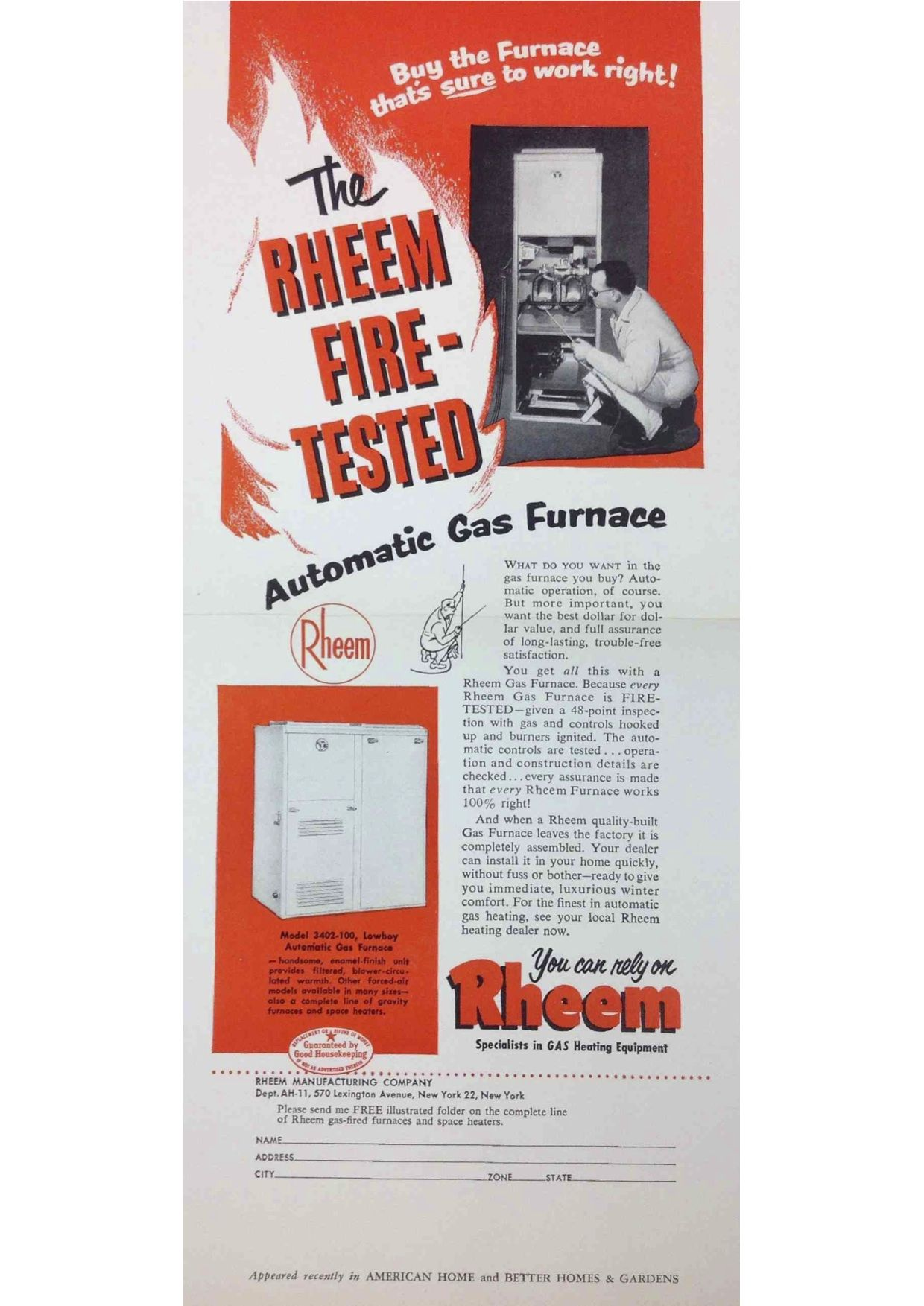 Fire Tested Vintage Rheem Ad For The Automatic Gas Furnace