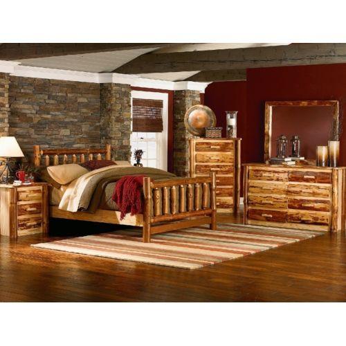 Up North King Log Bed   HOM Furniture
