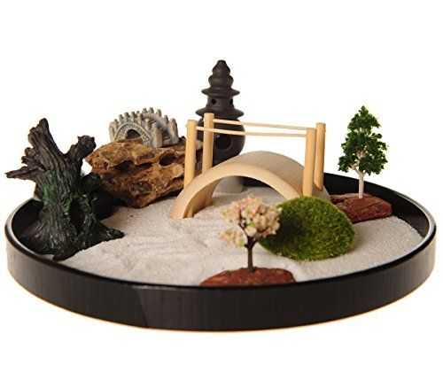 ICNBUYS Zen Garden With Boat Bridge Japanese Censers Set With Free Rake And  Pushing Sand Pen Base Tray Diameter Inches