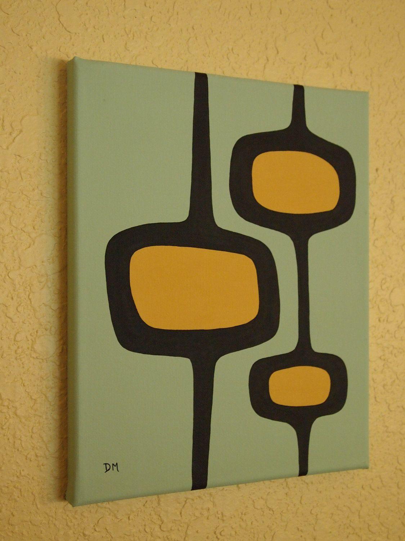 Mid Century Modern, 20 X 20, Original Acrylic Painting   Mid ...