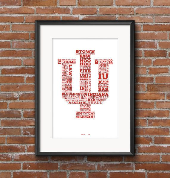 Indiana University College Town Iu Hoosiers 11x17 Etsy Typography Prints Poster Wall Indiana