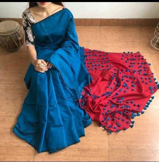 f7c94ce5de3 Price 899+shipping Pallu pom-pom Silk cotton With bp All colour available