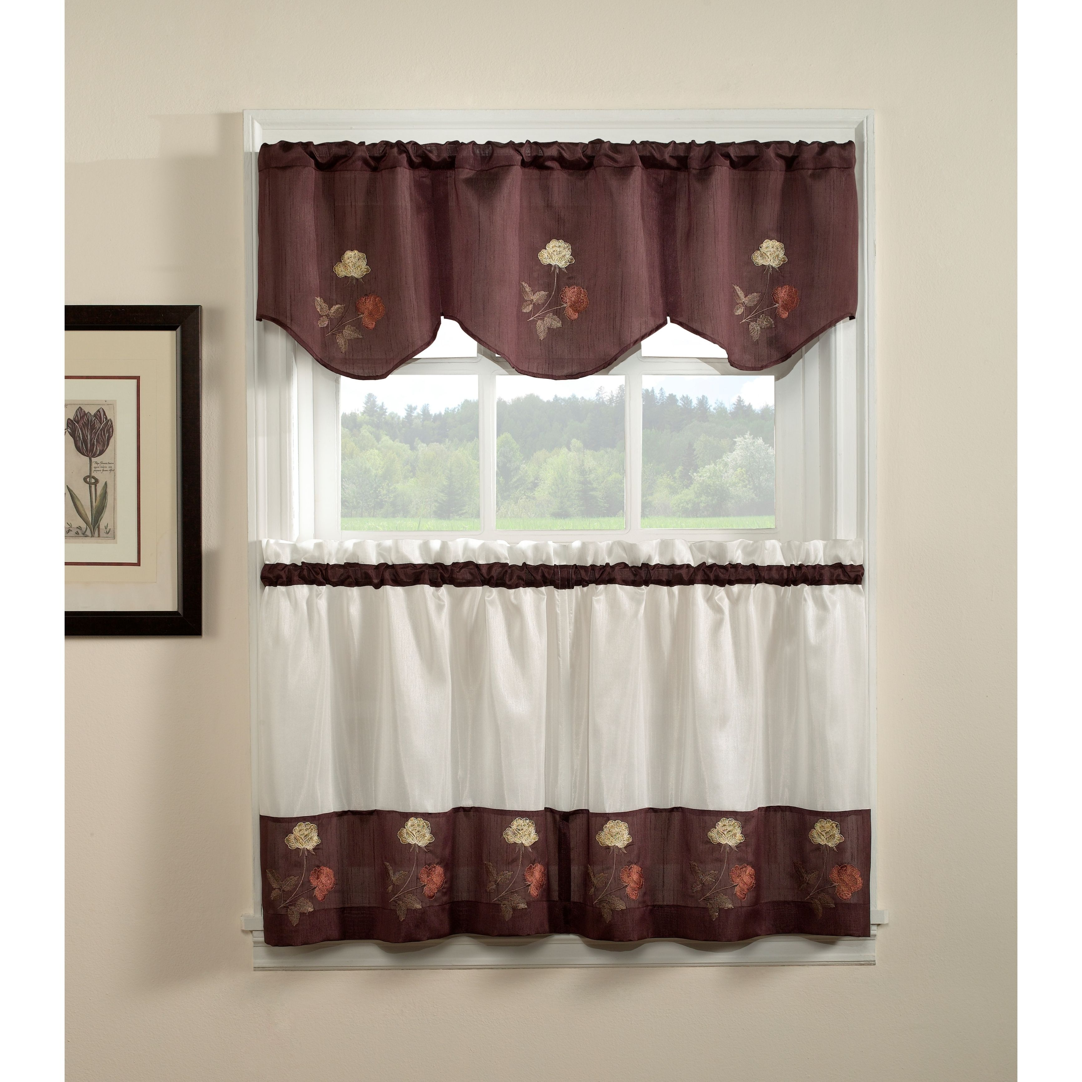 marvelous Brown Tier Curtains Part - 4: Rose 3-piece Curtain Tier and Valance Set (36 inch), Brown (All Polyester,  Floral)
