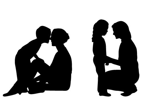 Innocent Loving Mom and Child Silhouette Free Download